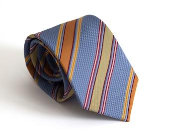 Vintage silk tie, classic mens necktie, silk neck tie, ribbed striped mens neck tie cravat cravatte / purple lillac red orange