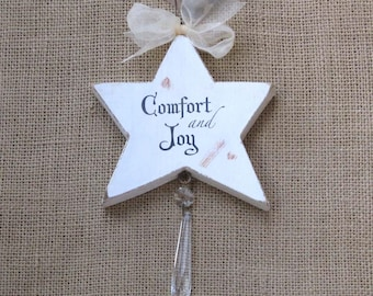 Rustic Wood Star, Wooden Ornament, Crystal Ornament, Holiday Gift, Victorian Christmas, Comfort and Joy, Star with Chrystal, Suncatcher