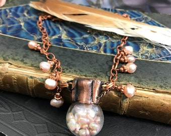 Electroformed Copper Glass Treasure Bottle Necklace Filled with Pink Pearls Statement Necklace