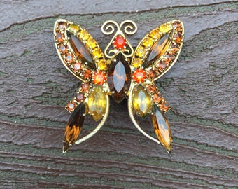 Vintage Jewelry Stunning Rhinestones Butterfly Pin Brooch
