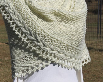 Hand knitted shawl with custom mill spun yarn, gift, wool and silk