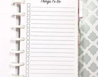 To Do List, Checklist Inserts for Mini Happy Planner, Mini Size Disc Planner