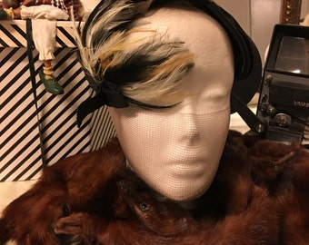 1950's Black feather hat