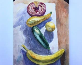 Happy Fruit- Original Watercolor