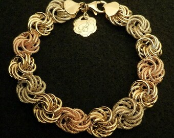 7 Gram Solid 14K Yellow White Rose Gold Vintage ITALY Tri Color Rosetta Designer Ross Simons Chain Link Bracelet