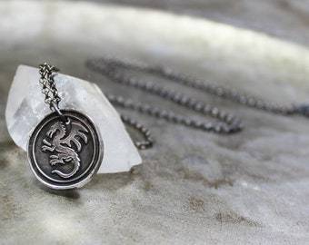 Dragon Necklace - Vintage Wax Seal Dragon Charm Necklace - Fine Silver - Sterling Silver Oxidized Sterling Silver Necklace Dragon Jewelry