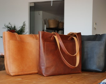 Tan / Cognac Leather tote bag with large outside pocket. Medium Brown Cap Sa Sal Bag. Handmade.
