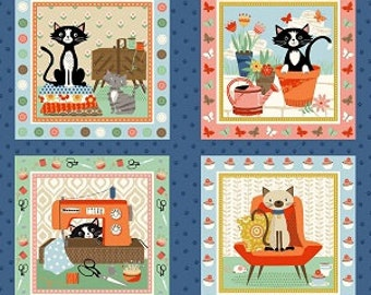 """Crafty Cats Quilting Panel fabric - Makower UK Andover - 24"""" by 44"""""""
