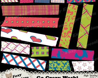Go Crazy Washi Tape pack in fun heart, stars, weaves, stripes, waves, squares, and ink blots designs. Comes in green, blue, pink and purple.
