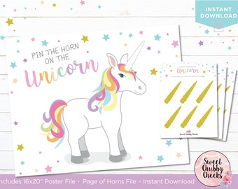 Pin the Horn on the Unicorn Game...Printable Unicorn Pin the Horn Game...16x20 Printable Unicorn Game...Unicorn Birthday Party Game Digital