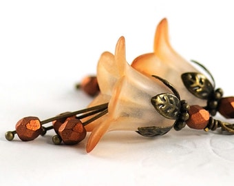 Dangle Flower Earrings Caramel Brown Flower Beaded Jewelry, Blossom Earrings, Mothers Day Gift for Gardener, Nature Inspired