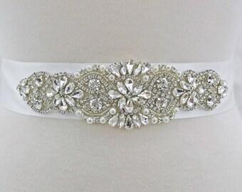 double sided white satin sash, crystal bridal sash, rhinestone bridal sash, bridal belt, , white sash belt, white bridesmaid sash