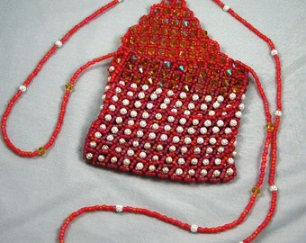 red silver and gold evening bag
