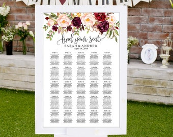 Wedding Seating Chart Template, Boho Chic Floral Wedding Table Plan,  Seating Board, Seating Plan, #A047, INSTANT DOWNLOAD, Editable PDF