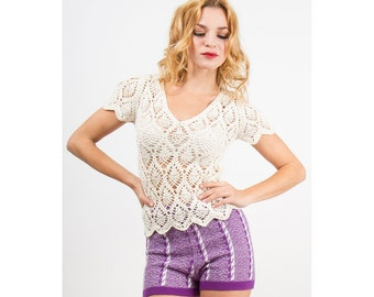 Crochet top / vintage off white cotton openwork fitted T shirt S