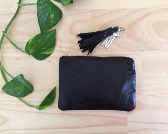 Porte monnaie en cuir avec doublure en corail noir