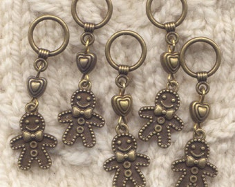 Gingerbread Boy Knitting Stitch Markers Cookie Gingerbread Man Set of 5 /SM279