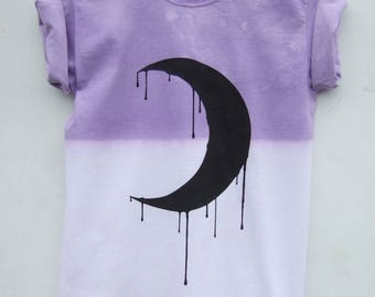 Purple Pastel Goth Shirt - Moon Phases Crescent Top - Grunge Kawaii Fashion - 2 weeks pre-order