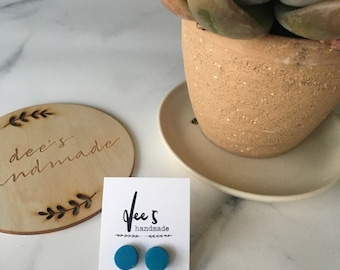 Teal Dots Polymer Clay Earrings