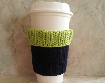 Coffee Cup Cozy Sleeve Hand Knit Deluxe Cotton Knit Fabric Two-Toned Navy Blue Hot Green Seahawks color coordinate