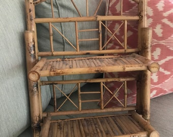 Vintage bamboo wall shelf