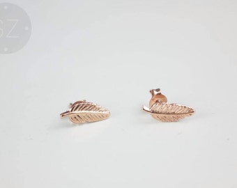 Rose Gold Feather Stud Earrings - Highest Quality - 925 Sterling Silver - Free Gift Box