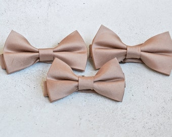 Rose Gold Raw Silk Bow Tie