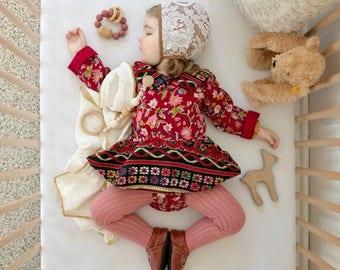 18-24 months, Ready to ship skirted romper, Boho dress, hippie baby dress, bohemian baby romper, toddler romper, moonchild