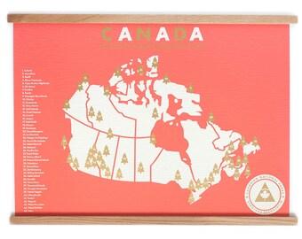 Canada National Parks 18x24 Checklist Map Screen Print