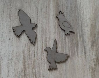 "Set of 3 chipboard ""bird"""