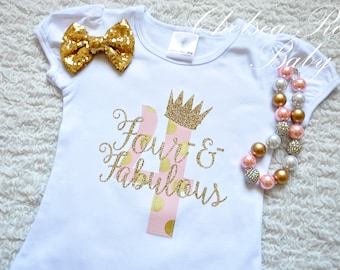 Pink and Gold Birthday shirt, Personalized Birthday shirt, Birthday outfit, Girls 4th Birthday Shirt, 4th Birthday outfit, Pink Gold