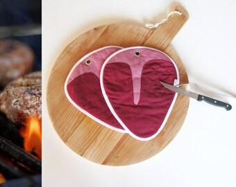 juicy T- bone steak bbq pair of potholders - masculine potholders - grilling bbq garden party potholders - red meat potholders - foodie gift