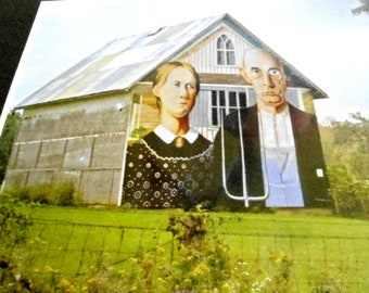 Vintage Photo by Zecher of Barn w/ American Gothic Painted on