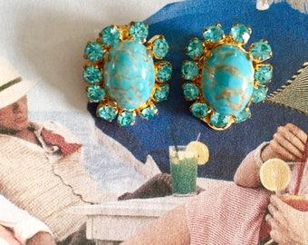 Fancy vintage 50's clip on earrings