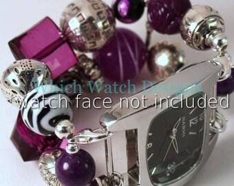Fierce.. Chunky Purple Acrylic and Stone Interchangeable Watch Band, Double Strand