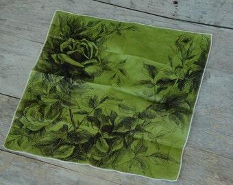 Vintage 40s-50s Rose Print Handkerchief/ Hankie /Retro/Shabby Chic