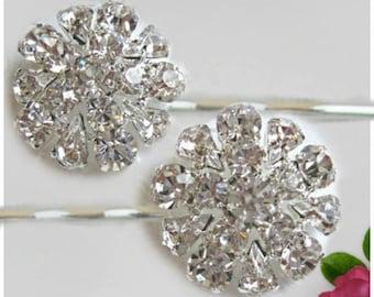 2 Wedding Hair Pins, Crystal Bobby Pins, Bridesmaids Gift, Rhinestone U-pins, Bridesmaids Hair pin, clear crystal, Bridal hair clip