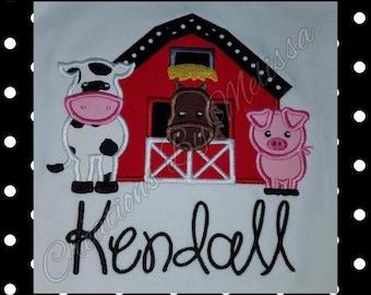 Farm Animal Birthday Shirt/ Farm Animal Shirt/ Barnyard Shirt/ Barnyard Birthday/ Pig/ Cow/ Farm Animal Applique/ Barnyard Applique Design