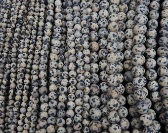 "Natural Dalmatian Jasper 4mm, 6mm, 10mm Matte Round Beads 16"" Strand"