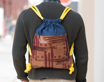 Hand-Painted Leather Drawstring Backpack