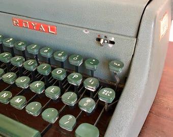 Vintage Typewriter Royal Aristocrat Metal...Green Old. Typing. Office. Portable. Manual. Journalism. Keys. Heavy. Retro. Industrial.