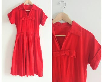 Vintage 1950s 50s Red Corduroy Dress Full Skirt Party Day