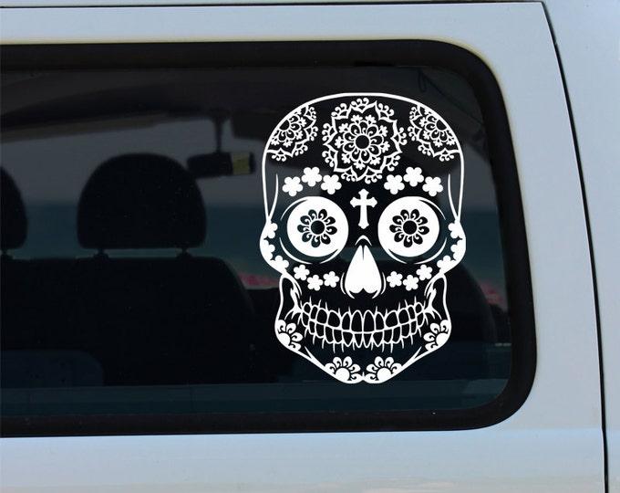 Floral Sugar Skull - Car Sticker - Car Decal - Sugar Skull - Skull Decal - Sugar Skull Decal - Skull - Vinyl Decal - Decal - Vinyl