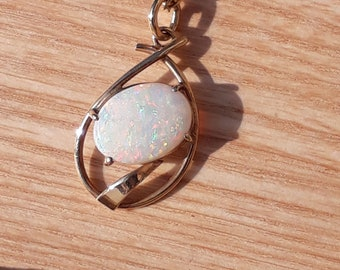 9ct Gold and Australian Crystal Opal Pendant, Vintage