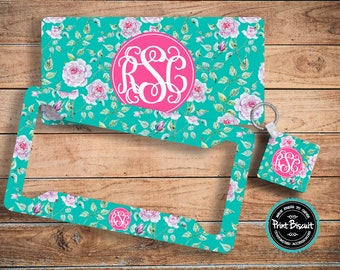 icense Plate, Car Plate, Back Car Tag, Turquoise, Floral, Roses Monogram License Frame, Bicycle Tag, Front Car Tag, Personalized Tag 59LT