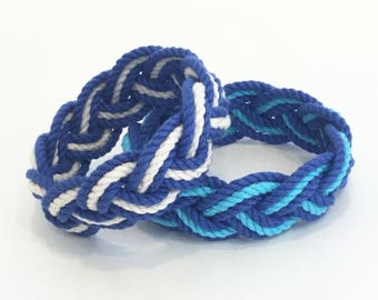 Summer Blues Sailor Knot Striped Bracelets