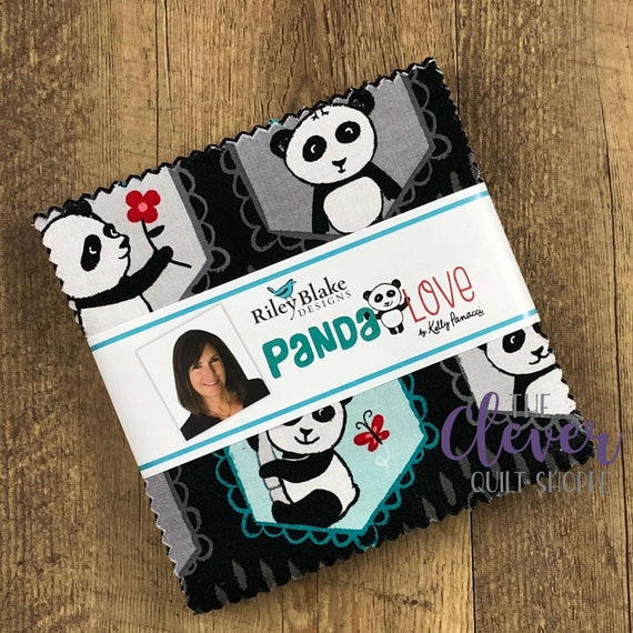 Charm Pack, Squares, Panda Love, Riley Blake Designs, Kelly Panacci, Childrens Fabric, Baby Quilt, Cute Fabric, Kids Fabric, Quilting Fabric