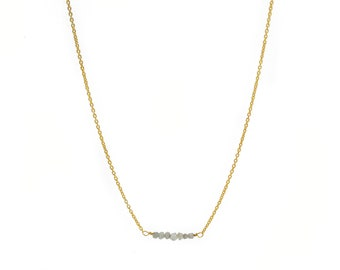 Raw Diamond Nugget Necklace - gold plated sterling silver chain - grey raw diamonds