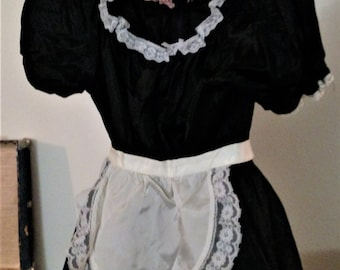 French Maid Costume with Little White Apron & Petticoat