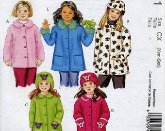 Cute girls' unlined coats & hats pattern, McCall's M4961, Sizes extra small to small, 3, 4, 5, 6
